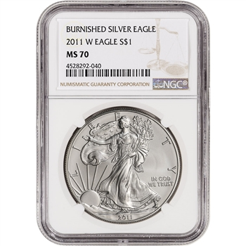 2011-W American Silver Eagle Burnished - NGC MS70 - Large Label