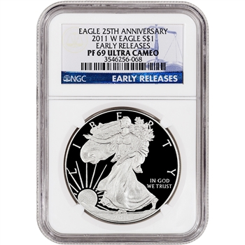 2011-W American Silver Eagle Proof - NGC PF69UCAM - Early Releases