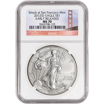 2012-(S) American Silver Eagle - NGC MS70 - Early Releases Golden Gate Label