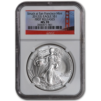 2012-(S) American Silver Eagle - NGC MS70 - First Releases - Golden Gate Bridge