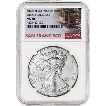 2012-(S) American Silver Eagle - NGC MS70 Trolley Label