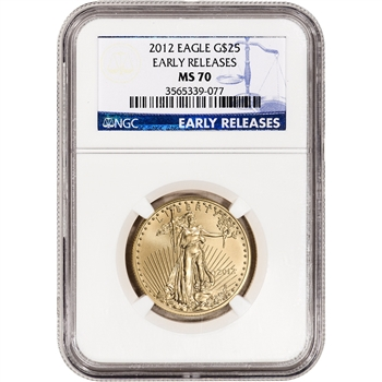 2012 American Gold Eagle 1/2 oz $25 - NGC MS70 Early Releases