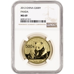 2012 China Gold Panda (1 oz) 500 Yuan - NGC MS69