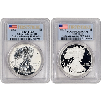2-pc 2012-S American Silver Eagle Proof 75th Anniv Set - PCGS PR69 First Strike