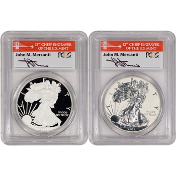 2-pc 2012-S American Silver Eagle Proof 75th Anniv Set PCGS PR69 First Mercanti
