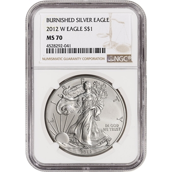 2012-W American Silver Eagle Burnished - NGC MS70 - Large Label