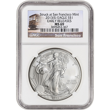 2013-(S) American Silver Eagle - NGC MS69 Early Releases Trolley Label