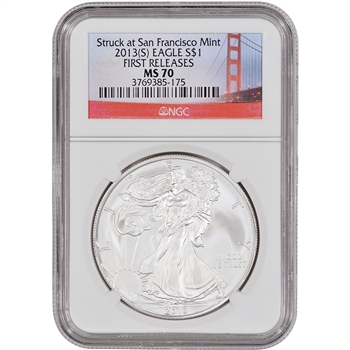 2013-(S) American Silver Eagle - NGC MS70 - First Releases - Golden Gate Label