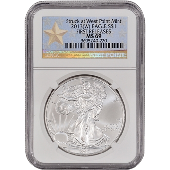 2013-(W) American Silver Eagle - NGC MS69 - First Releases - West Point Star