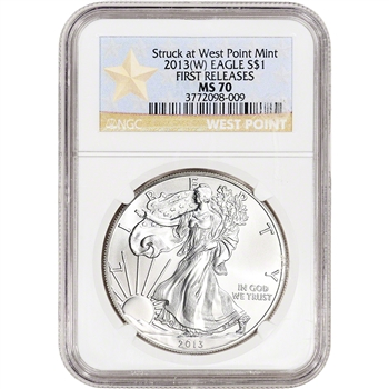 2013-(W) American Silver Eagle - NGC MS70 - First Releases - West Point Star