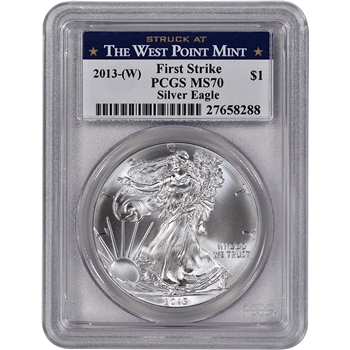 2013-(W) American Silver Eagle - PCGS MS70 - First Strike - West Point Label