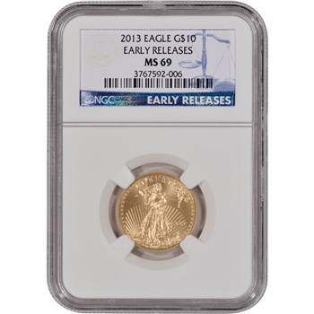 2013 American Gold Eagle (1/4 oz) $10 - NGC MS69 - Early Releases