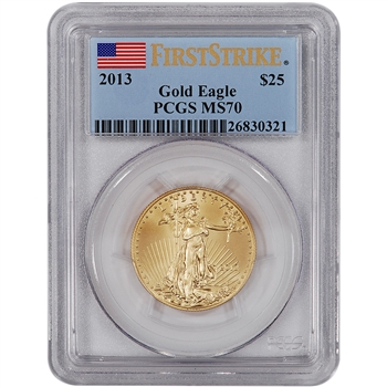 2013 American Gold Eagle (1/2 oz) $25 - PCGS MS70 - First Strike