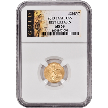 2013 American Gold Eagle (1/10 oz) $5 - NGC MS69 - First Releases - Gold Label