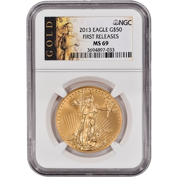 2013 American Gold Eagle (1 oz) $50 - NGC MS69 - First Releases - Gold Label