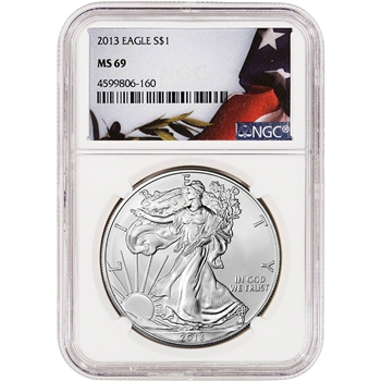 2013 American Silver Eagle - NGC MS69 - Flag Label