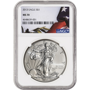 2013 American Silver Eagle - NGC MS70 - Flag Label