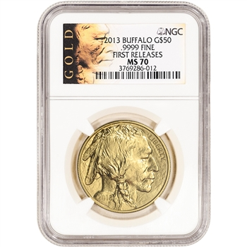 2013 American Gold Buffalo 1 oz $50 - NGC MS70 - First Releases - ALS Label