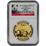 2013 China Gold Panda (1 oz) 500 Yuan - NGC MS70 - First Releases - Red Label