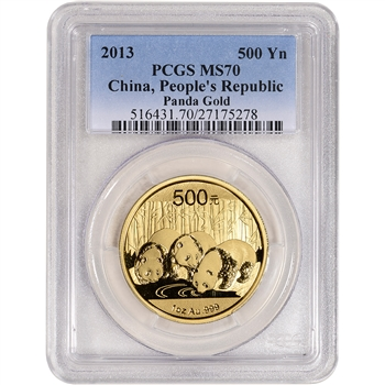 2013 China Gold Panda (1 oz) 500 Yuan - PCGS MS70