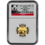 2013 China Gold Panda (1/10 oz) 50 Yuan - NGC MS69 - First Releases - Red Label