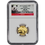 2013 China Gold Panda (1/10 oz) 50 Yuan - NGC MS70 - First Releases - Red Label