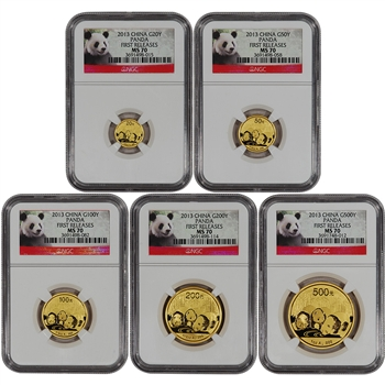 2013 China Gold Panda - 5-pc Year Set - NGC MS70 - First Releases - Red Label