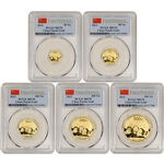 2013 China Gold Panda - 5-pc. Year Set - PCGS MS70 First Strike