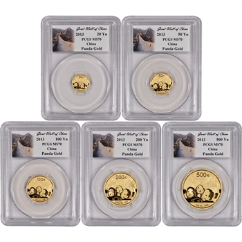 2013 China Gold Panda - 5-pc Year Set - PCGS MS70 - Great Wall of China Label