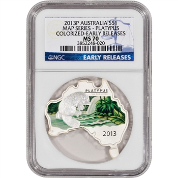 2013-P Australia Silver Map Series - Platypus Colorized $1 - NGC MS70 ER