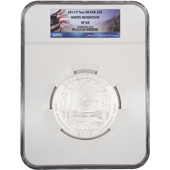 2013-P ATB White Mountain Silver (5 oz) 25C - NGC SP69 - Flag Label