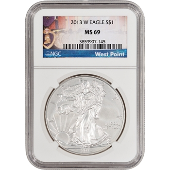 2013-W American Silver Eagle Uncirculated Burnished - NGC MS69 West Point Medals