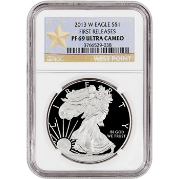 2013-W American Silver Eagle Proof - NGC PF69UCAM - First Releases - Star Label