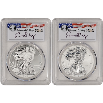 2013-W American Silver Eagle - West Point Two-Coin Set - PCGS 70 - Moy Signed