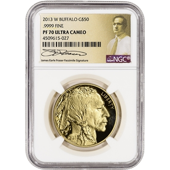 2013-W American Gold Buffalo Proof (1 oz) $50 - NGC PF70 UCAM - Fraser Label