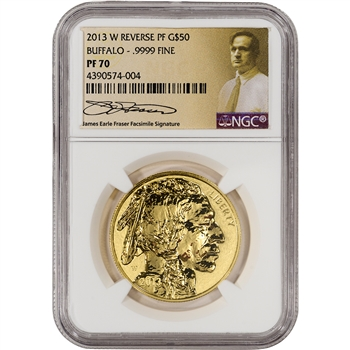 2013-W American Gold Buffalo Reverse Proof $50 - NGC PF70 Fraser Label
