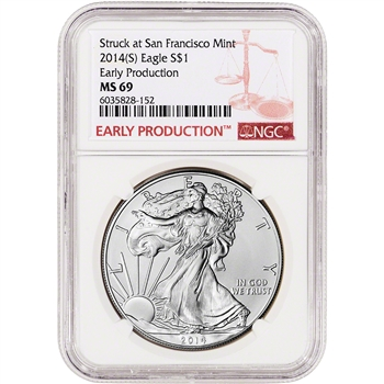 2014 (S) American Silver Eagle - NGC MS69 Early Production Label