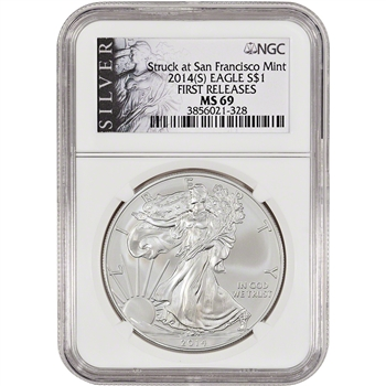 2014-(S) American Silver Eagle - NGC MS69 - First Releases - Silver Label