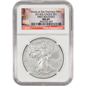 2014-(S) American Silver Eagle - NGC MS69 - First Releases - San Francisco Label