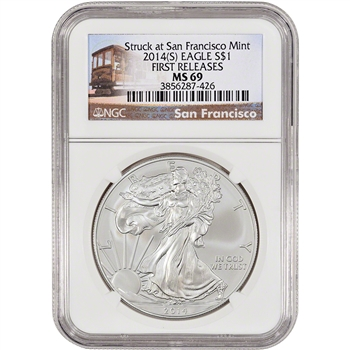 2014-(S) American Silver Eagle - NGC MS69 - First Releases - Trolley Label