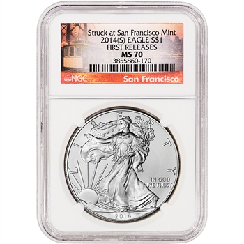 2014-(S) American Silver Eagle - NGC MS70 - First Releases - San Francisco Label