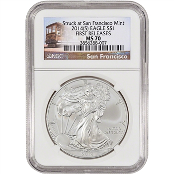 2014-(S) American Silver Eagle - NGC MS70 - First Releases - Trolley Label