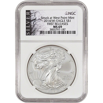 2014-(W) American Silver Eagle - NGC MS69 - First Releases - Silver Label