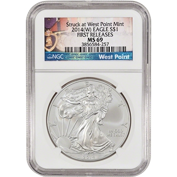 2014-(W) American Silver Eagle - NGC MS69 - First Releases - West Point Label