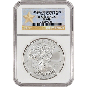 2014-(W) American Silver Eagle - NGC MS69 - First Releases - West Point Star