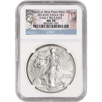 2014-(W) American Silver Eagle - NGC MS70 - Early Releases - New York Label