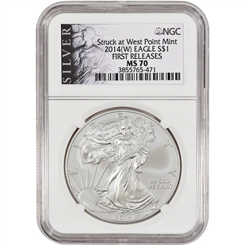 2014-(W) American Silver Eagle - NGC MS70 - First Releases - Silver Label