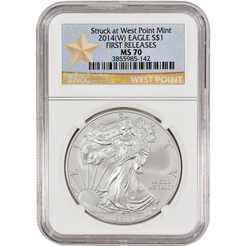2014-(W) American Silver Eagle - NGC MS70 - First Releases - West Point Star