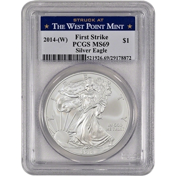 2014-(W) American Silver Eagle - PCGS MS69 - First Strike - West Point Label