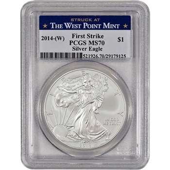 2014-(W) American Silver Eagle - PCGS MS70 - First Strike - West Point Label
